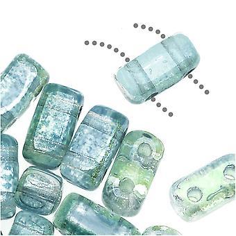CzechMates Glass 2-Hole Rectangle Brick Beads 6x3mm - Dual Lustered Blue / Green, 1 Strand