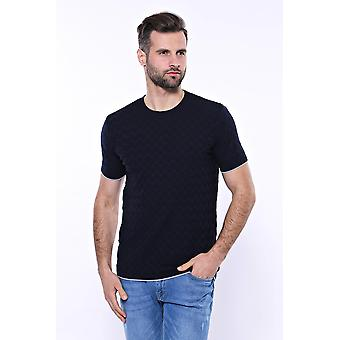 Navy blue patterned tricot knitted t-shirt