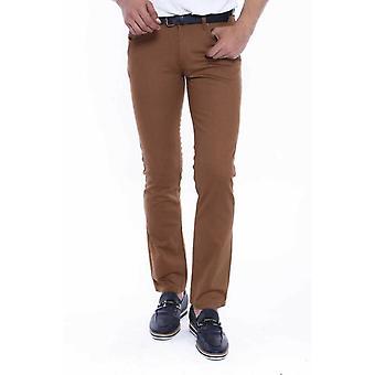 Brown straight leg men pants
