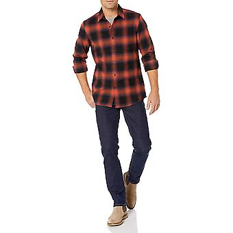 Goodthreads Hombres's Slim-Fit camisa de franela cepillada de manga larga, -gris/ negro búfalo, medio