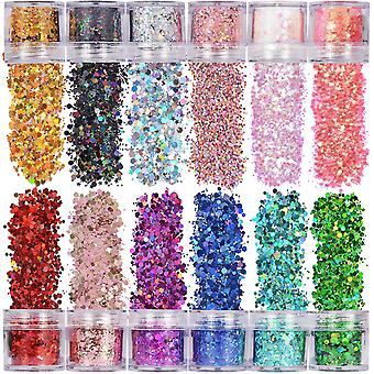 Holographic chunky glitter 12 colors face body eye hair nail festival cai690