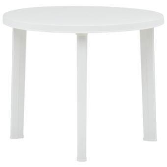 Gartentisch 89 cm Kunststoff Weiß