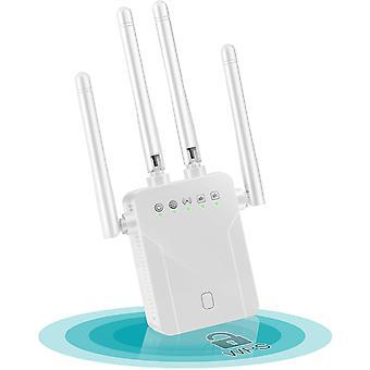 מגבר WiFi Extender טווח מאריך WiFi, 1200Mbps מגבר WiFi כפול פס 2.4GHz / 5GHz WiFi Extender מגבר עם AP / נתב / מהדר / מצב לקוח, כיסוי אותות עד 250㎡ -לבן