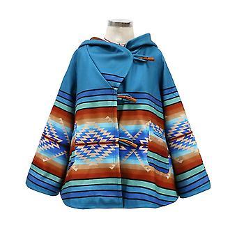 Women Long Sleeve Hooded Overcoat Colored Printing Loose Coat Wrap(M)