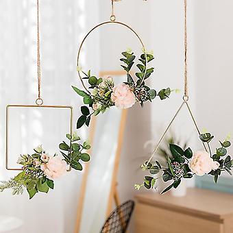 Geometrische kunstmatige bloem hoop krans metaal ronde driehoek vierkante ijzer frame muur opknoping voor