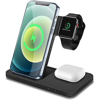 Wireless Charger FDGAO 3 IN 1 Wireless Charging Stand 15W Fast Charger Dock Station For Apple Watch SE/6/5/4/3/2; Airpods 2/Pro; Fast Charging for iPhone 12/12 Pro/11/XR/Xs/X/8; Samaung Galaxy S20,(black)