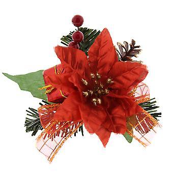 12cm Jul Pinecone och Poinsettia Pick For Christmas Floristry Crafts