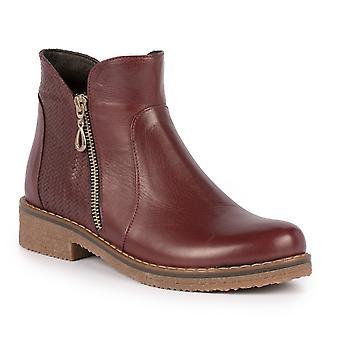 Lunar Hailey Burgundy Leather Ankle Boot