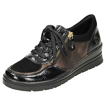 Remonte R0701-05 Wedge Lace Up Patent Shoes Cuir