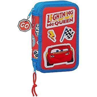 Double Pencil Case Cars Mc Queen Blue Red (28 pcs)