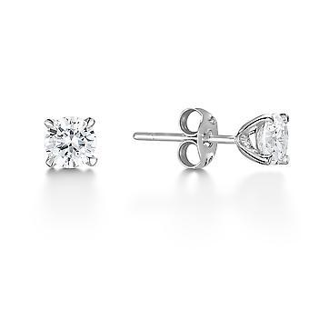 HS Johnson HSJ-DA3153 Women's 18ct White Gold Solitaire Diamond Stud Earrings