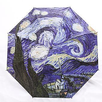 Brand folding umbrella female windproof paraguas van gogh oil painting umbrella rain women quality black coating parasol