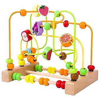 المتشابكة كتل الاطفال لعب مونتيسوري خشبية لعب متاهة دوائر حول الخرز abacus الرياضيات لعب لغز|الألعاب الرياضية