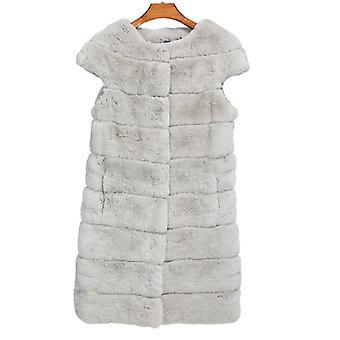 Mimigo Echtpelz Weste Frauen Smooth Rex Kaninchen Pelz Mantel Echtes Kaninchen Pelz Jacke Für Winter Chinchilla Farbe Warme Baumwolle