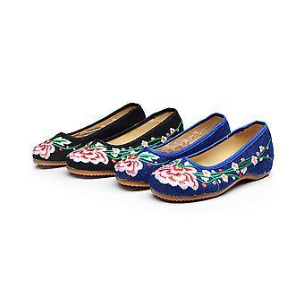 Women's Chinese Retro Ethnic Embroidery Low Heel Flat Elevator Cheongsam Dress Shoes Acacia