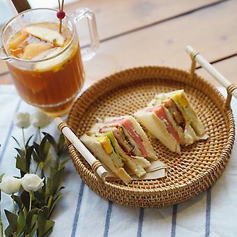 Vietnam Hand Woven Rattan Tray Fruit Tray Double Ear Rattan Basket Woven Breakfast Basket Japanese Bamboo Bread Basket Dessert Basket