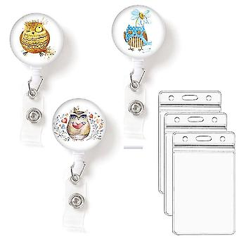(Owls)Leuyuan Pack Of 3 Retractable Id Badge Reelswith Badge Card Cases
