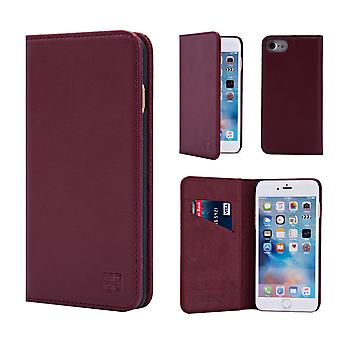 32nd Classic Real Leather Wallet for Apple iPhone 7   / iPhone 8 - Burgundy