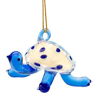 Beachcombers Glass Coastal Blue Sea Turtle Christmas Holiday Ornament 3 Inch