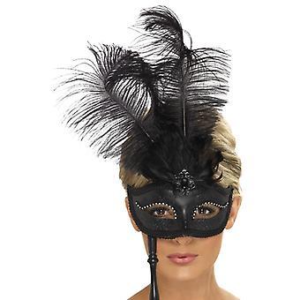 Μάσκα ματιών μάσκα ματιού με τον κάτοχο μαύρο μπαρόκ με πούπουλα μάσκα ματιών