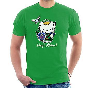 Hey Listen Link Hello Kitty Zelda Men's T-Shirt