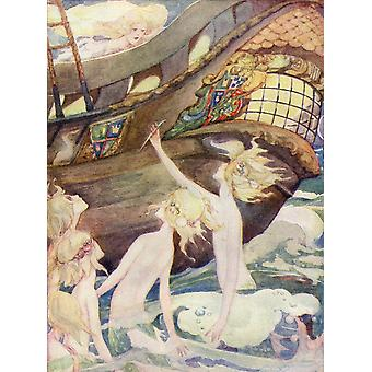 The Little Mermaid illustration from The Golden Wonder Book published 1934  She saw her sisters rise out of the sea handing her a penknife with which they told her to kill the prince Poster Print by H
