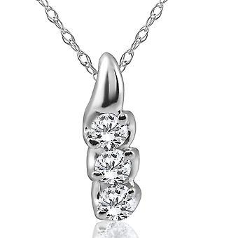 1/3ct Three Stone 3 Diamond Pendant 14K White Gold
