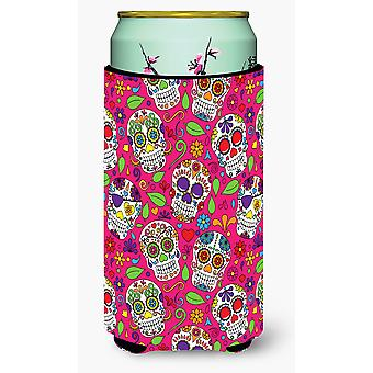 Day of the Dead Pink Tall Boy Beverage Insulator Hugger
