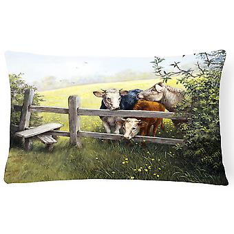 Cows in a Buttercup Meadow Fabric Decorative Pillow