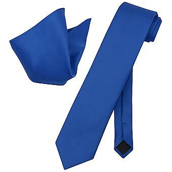 Vesuvio Napoli Solid EXTRA LONG NeckTie Handkerchief Neck Tie Set