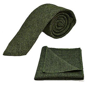 Pickle Green & Black Herringbone Tie & Pocket Square Set