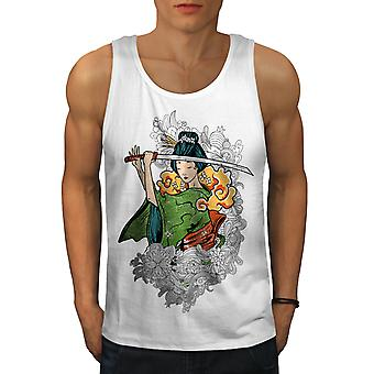 Katana Girl Art Men WhiteTank Top | Wellcoda