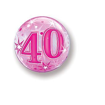 Balão Bubbel bola número 40 aniversário rosa estrelas aproximadamente 55 cm