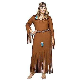Indian Princess Summer Wild West Native American Pocahontas Women Costume Plus