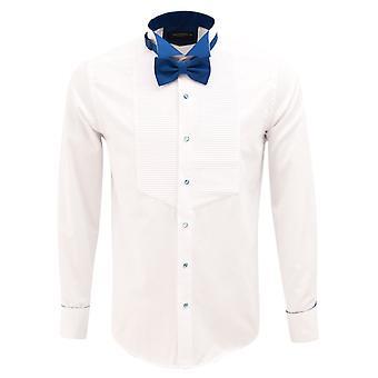 Oscar Banks Pleated Wing Collar Slim Fit Evening Dress Shirt