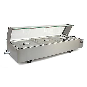 Bain Marie 3 Gastronorm Wet Well Food Warmer Stainless Steel Pans Display Glass