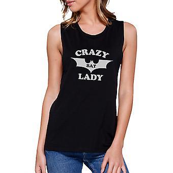 Crazy Bat Lady Women Black Halloween Muscle Tee Shirt Cotton Tshirt