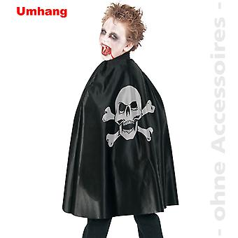Umhang Piratencape Kinder Kostüm Halloween Totenkopf Skelett Skull Kinderkostüm