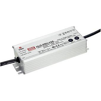 Mean Well HLG-60H-24B LED driver, LED transformer Constant voltage, Constant current 60 W 2.5 A 14.4 - 24 V DC dimmable, PFC circuit, Surge protection