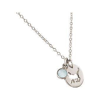 GEMSHINE halskæde kat, tømmermænd, chalcedony 925 sølv, forgyldt, Rose Pet