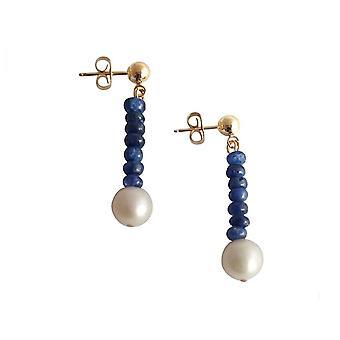 Gemshine - dames - boucles d'oreilles - plaqué or - saphir - bleu - perle - blanc - 3 cm