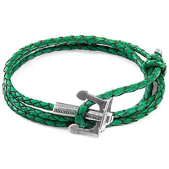 Anchor and Crew Union Silver and Braided Leather Bracelet - Fern Green