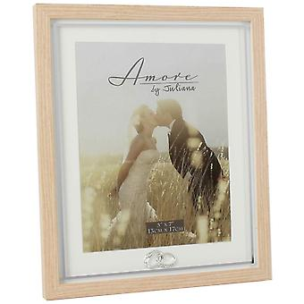 Juliana Amore Wood Effect Rings Icon Photo Frame 5x7 - Light Brown/White