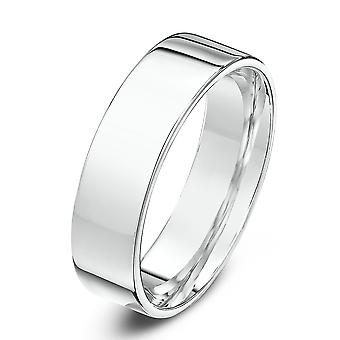 Star Wedding Rings 18ct White Gold Light Flat Court Shape 5mm Wedding Ring