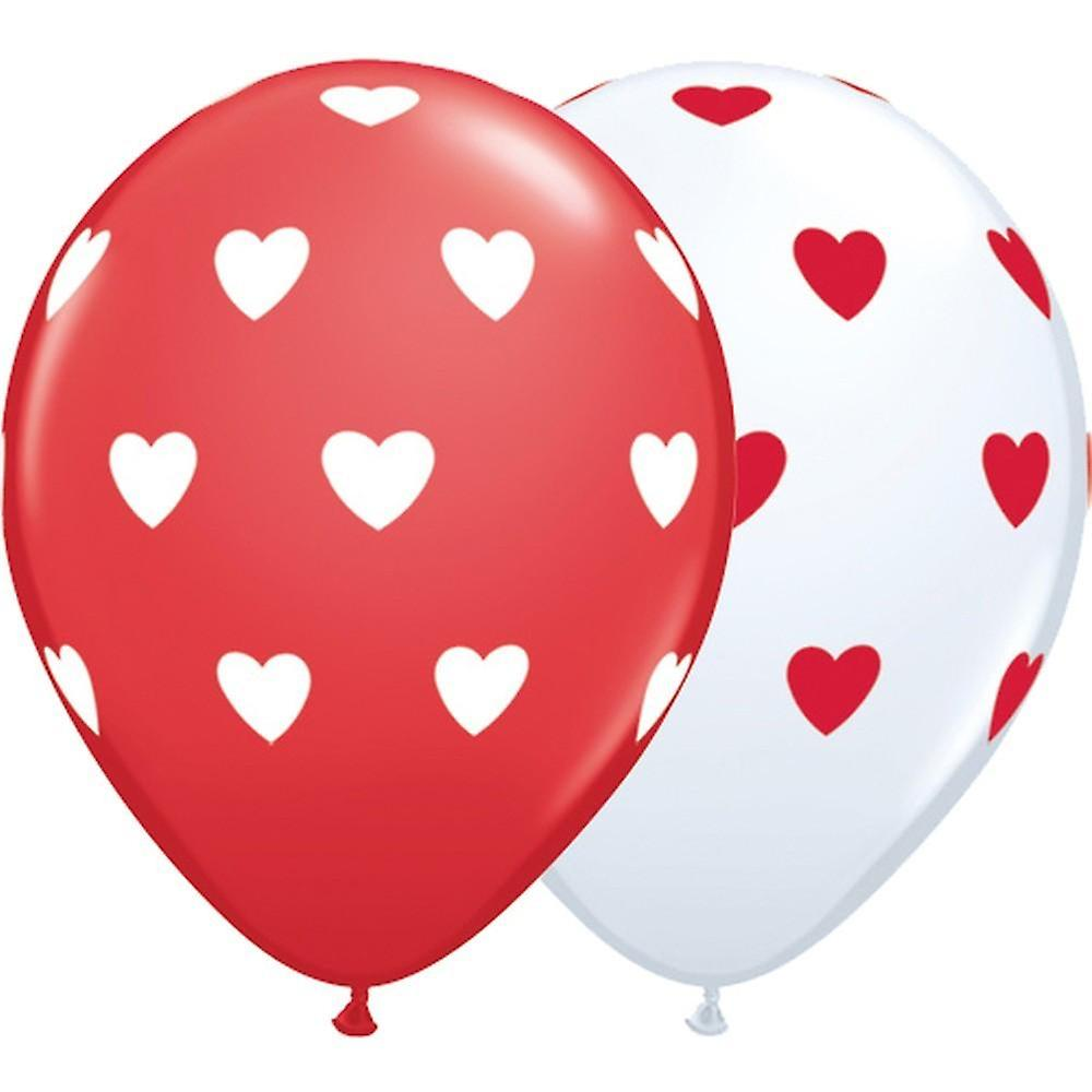 Röda och vita Ballonger med hjärtan 6-pack - 26 cm (10