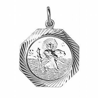 Zilveren 21x21mm zeshoekige diamant gesneden rand St Christopher Pendant