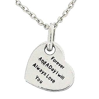 Toc Silvertone 'Forever...Love You' Love Heart Pendant on 18 Inch Chain