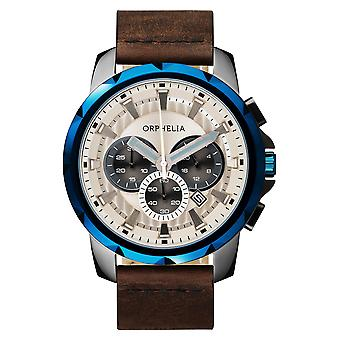 ORPHELIA Mens Chronograph Watch vijf zintuigen bruin leder OR81503