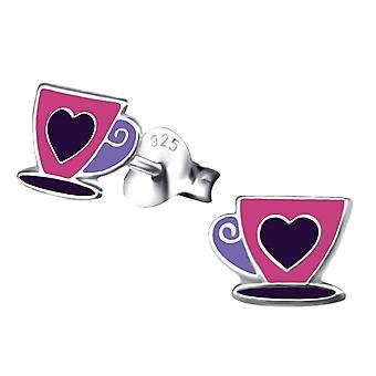 Sterling Silver Tea Cup brincos coloridos Stud