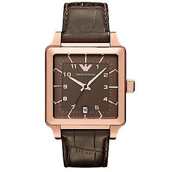 Ouro Emporio Armani Ar1622 homens de quartzo com pulseira de couro Watch